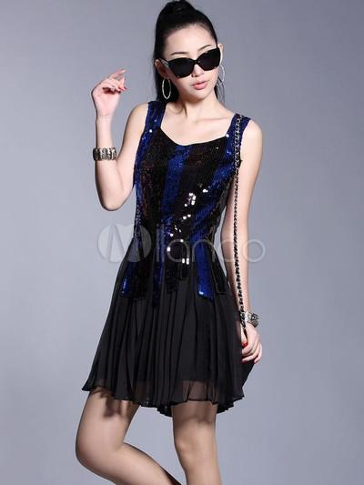 949d4d859ef8e ... 女性のためのセクシーな黒シルクノースリーブスパンコールドレス-No.3 ...