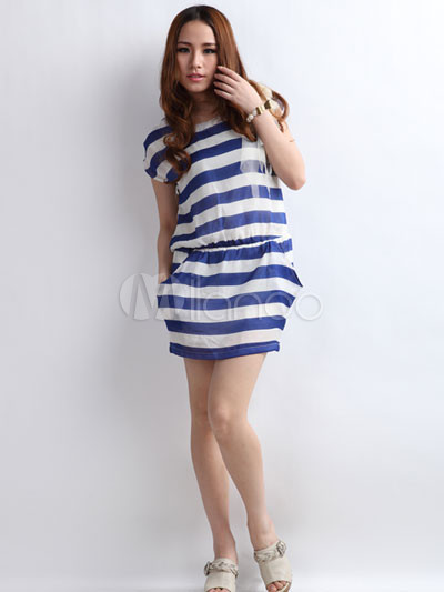 Blue And White Striped 65% Cotton 35% Polyester Womens Dress ...