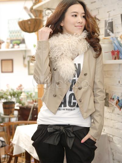 ... Elegante color beige botones manga larga chaqueta de cuero de la PU  para mujer-No ... dc38a843849dc