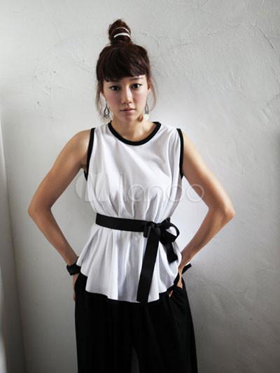 7bfafed01458 Elegante Blanco Ronda Real de seda sin mangas de cuello de la blusa para  mujer