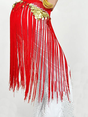 Buy Hip Scarf Belly Dance Costume Red Long Tassels Hip Bollywood Accessories for $13.79 in Milanoo store