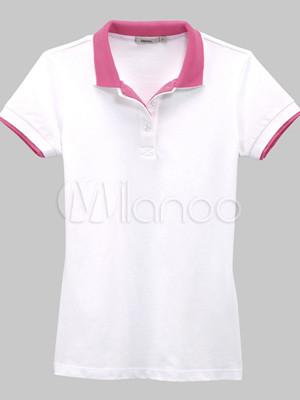 Para Capa Doble 100 Cuello De Polo Blanca Mangas Corto Camiseta Mujer Algodón Vancl OqESwvxRn