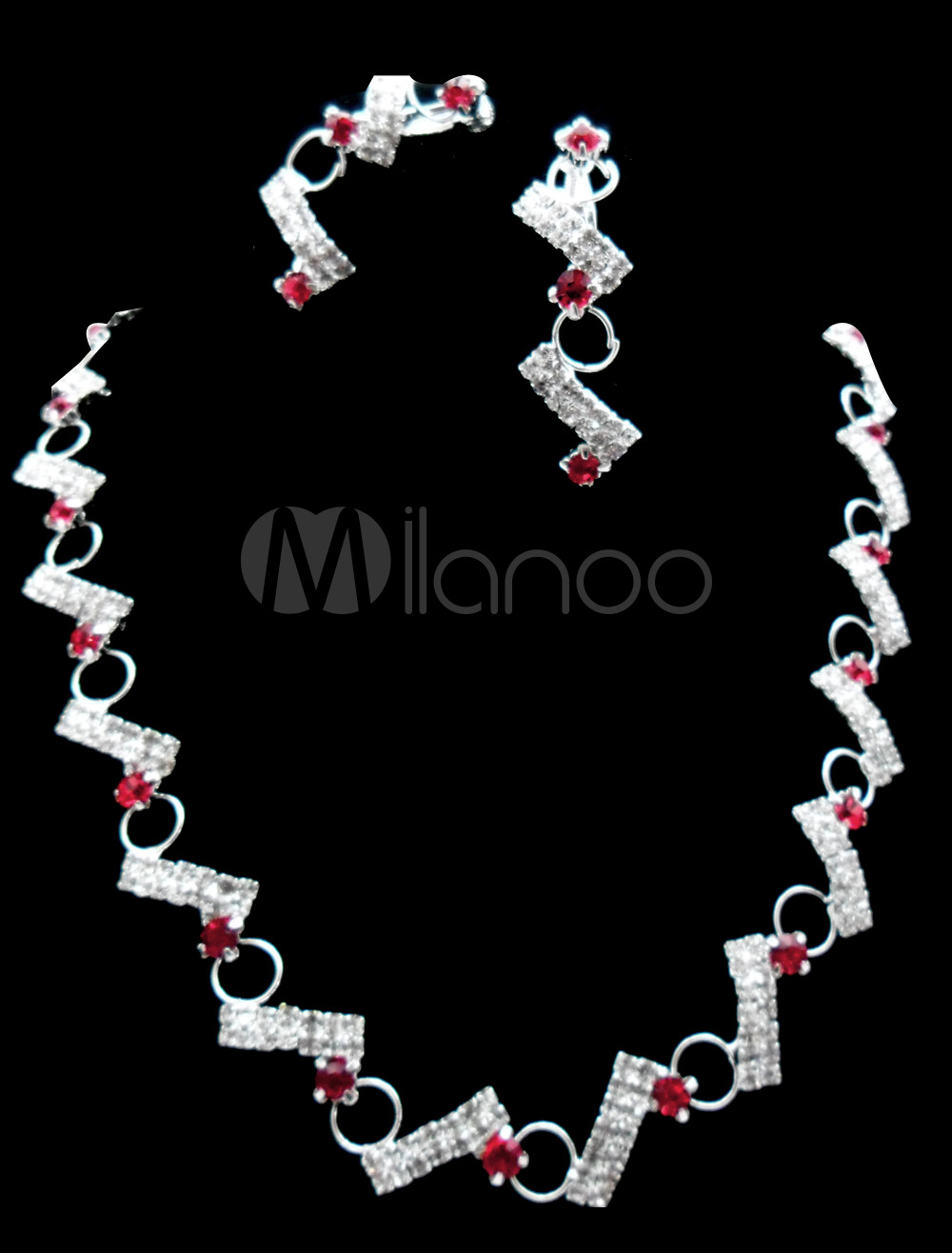 Modern Alloy Silver Plating Red Rhinestone Wedding Bridal Jewelry ...