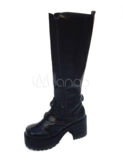 Botas negras de lolita de PU con hebillas de moda MxAp6H