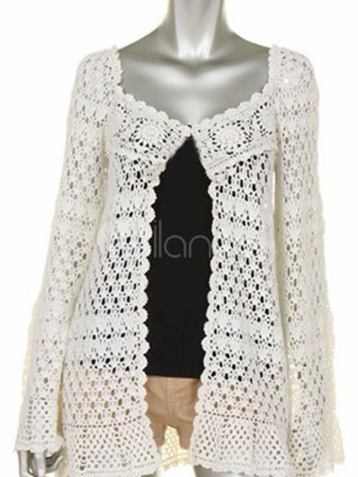 Handmade White 100% Cotton Long Sleeves Womens Crochet Cardigan,No.1