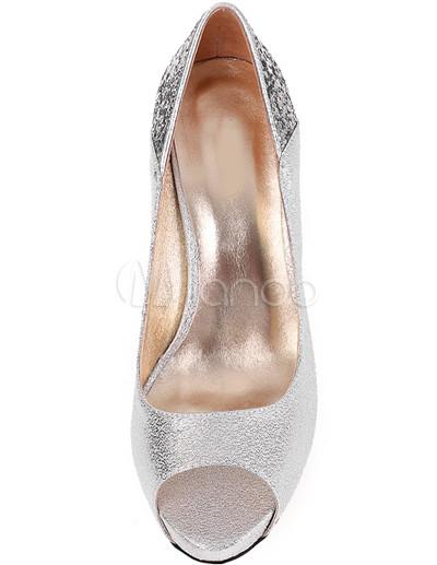 Silber 3 10 09 Schweinehaut Plattform Peep Toe Mode Schuhe