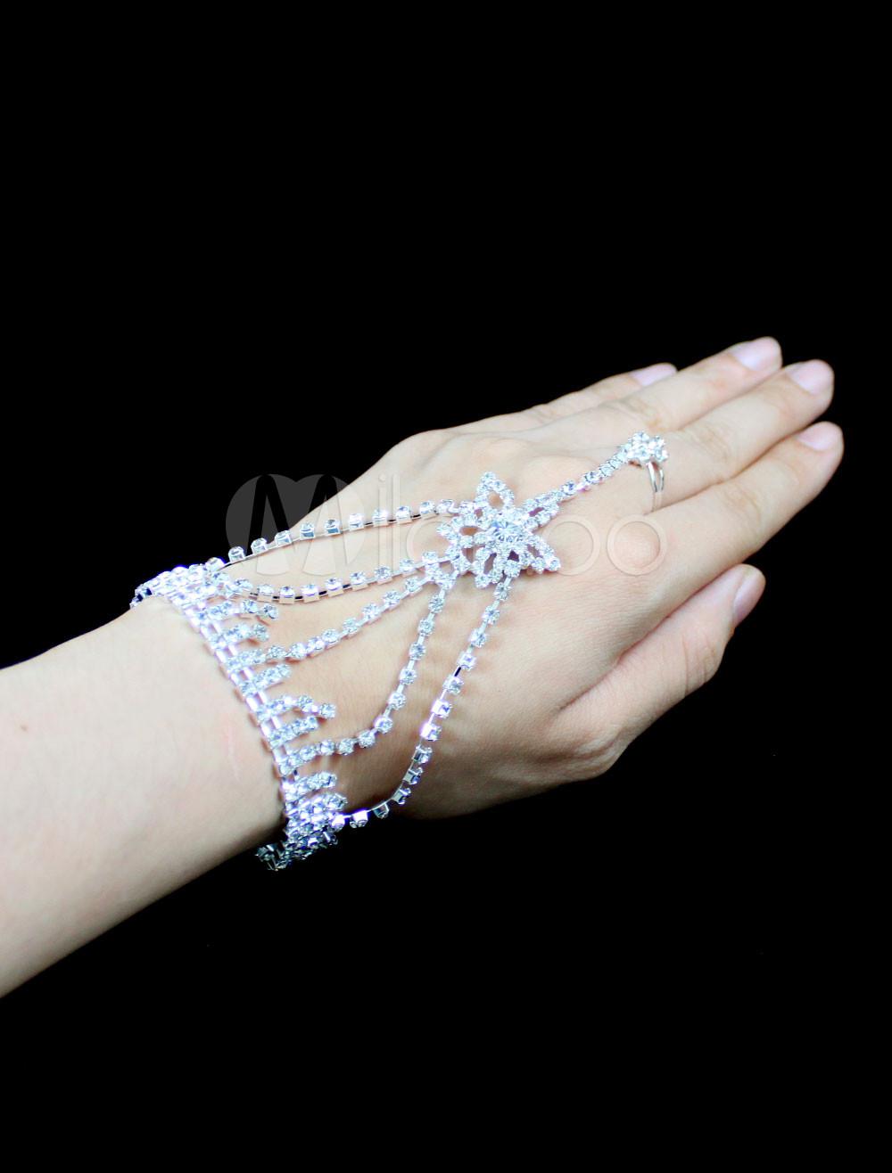 Buy White Alloy Rhinestone Stars Wedding Bridal Bracelet for $7.59 in Milanoo store