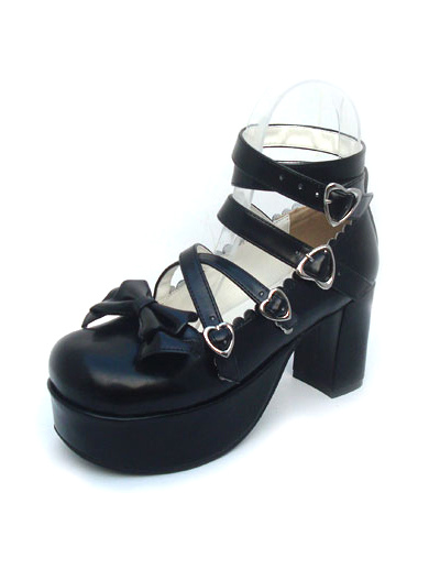 Matte Black Lolita Chunky Heels Shoes Ankle Straps Heart Shape Buckles
