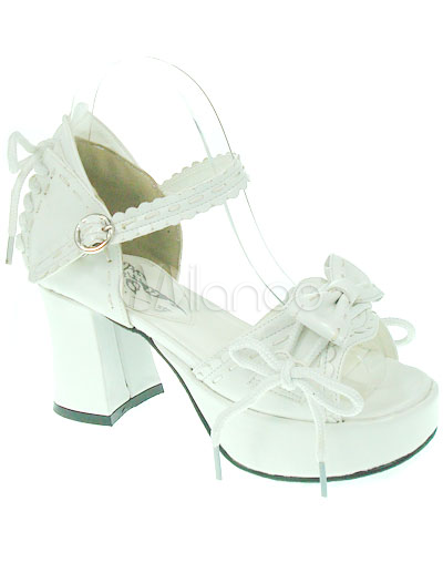PU Leather Bow White High( 3-3.9
