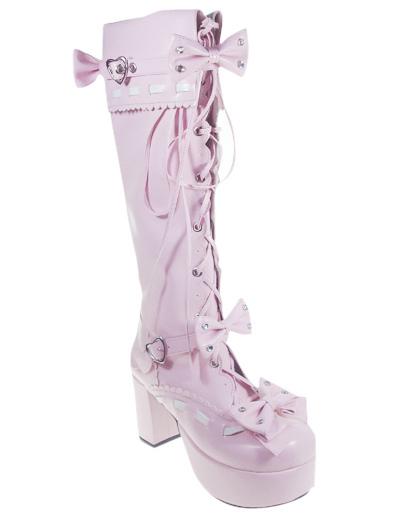 Sweet Pink Chunky Heel PU Stud Zipper Platform Bandage Lolita Boots