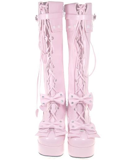 Botas de lolita de PU rosa con lazo de estilo dulce 8kNsPoowR