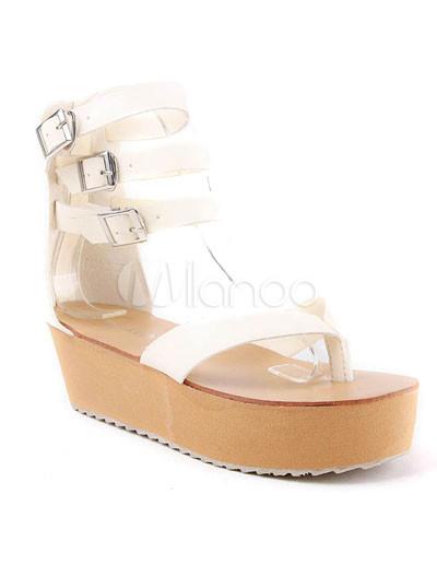 Cream Colored 2 High Heel 2 Platform Wedge Ankle