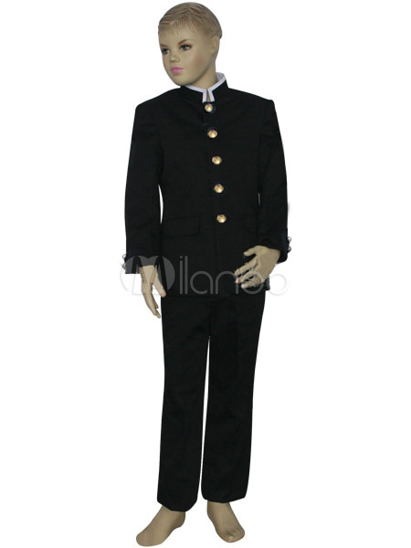 Buy Black And White Uniform Cloth Formal School Uniform Boys Cosplay Costume Halloween for $60.99 in Milanoo store