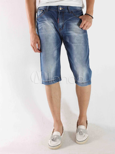 Buy Stylish Blue Stars Mens Short Jeans for $8.40 in Milanoo store