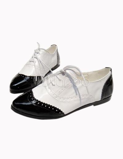 6240f988c4d 4 5   Zapatos Oxford de PU blanco negro para las mujeres - Milanoo.com