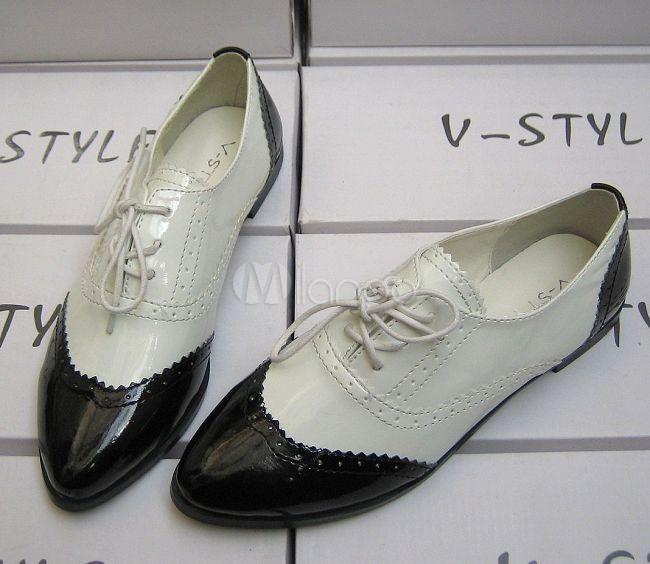 Weiß Frauen Und Flache Pu Patent Schwarz Oxford Schuhe Für Beliebte rdBoeCx