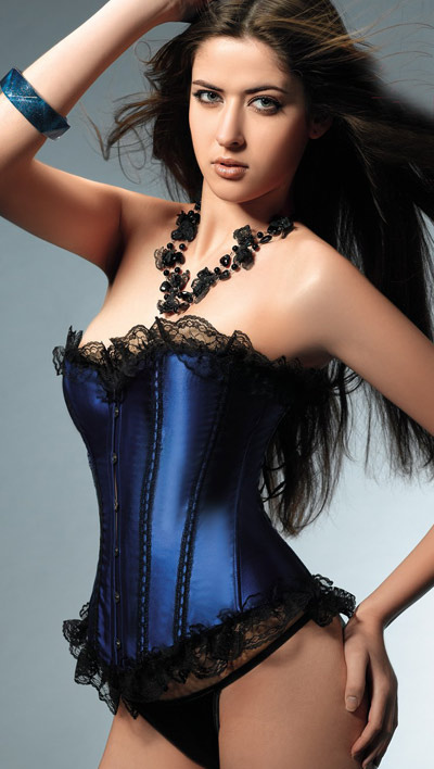 Blue Strapless Lace Satin Sexy Corsets