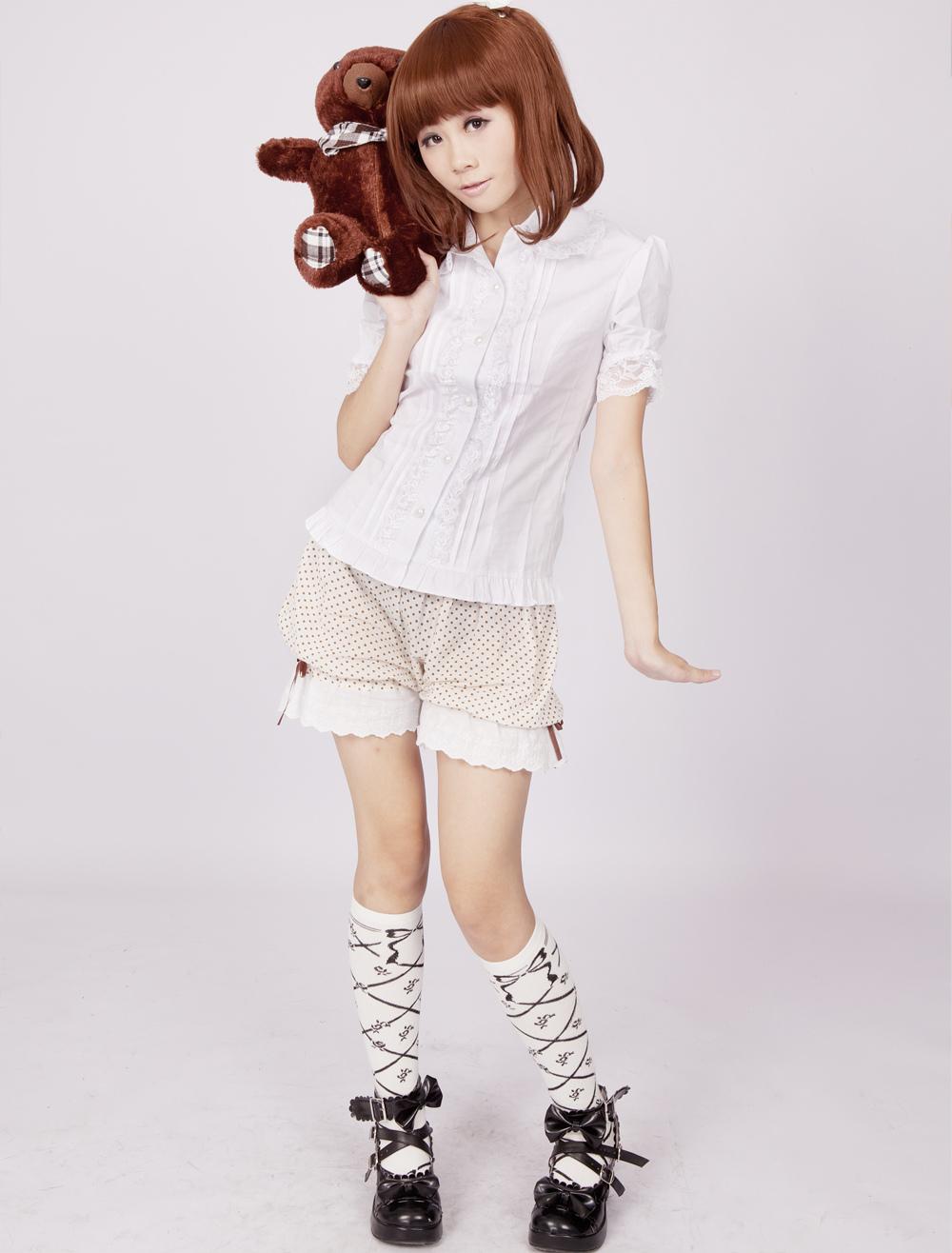 Cotton White Short Sleeves Lace Ruffles Cotton Lolita Blouse