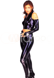 Halloween Catwoman Shiny Metallic Sleeveless Jacket with Trousers (Including Long Gloves) Halloween
