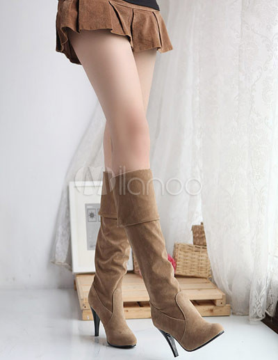 329b7a49769b Unique High Heel Camel Suede Women's Over The Knee Boots