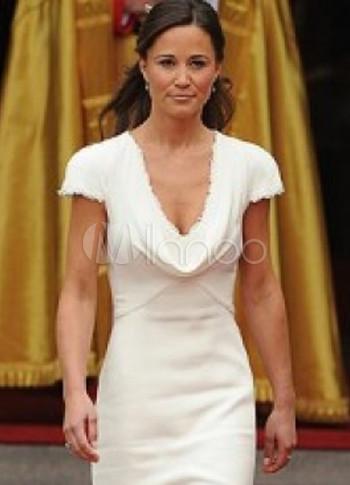 Satin V-Neck Short Sleeve Cannes Film Festival Dress