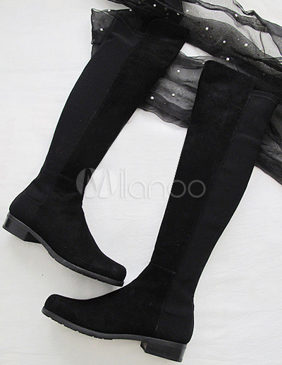 905e036666d ... Boots-No.1 · Black Sheepskin Suede Rubber Sole Women s Flat Over The  Knee ...