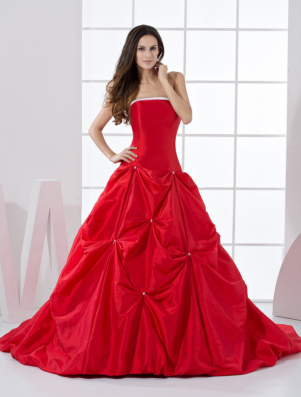 Red Ball Gown Strapless Quinceanera Dress