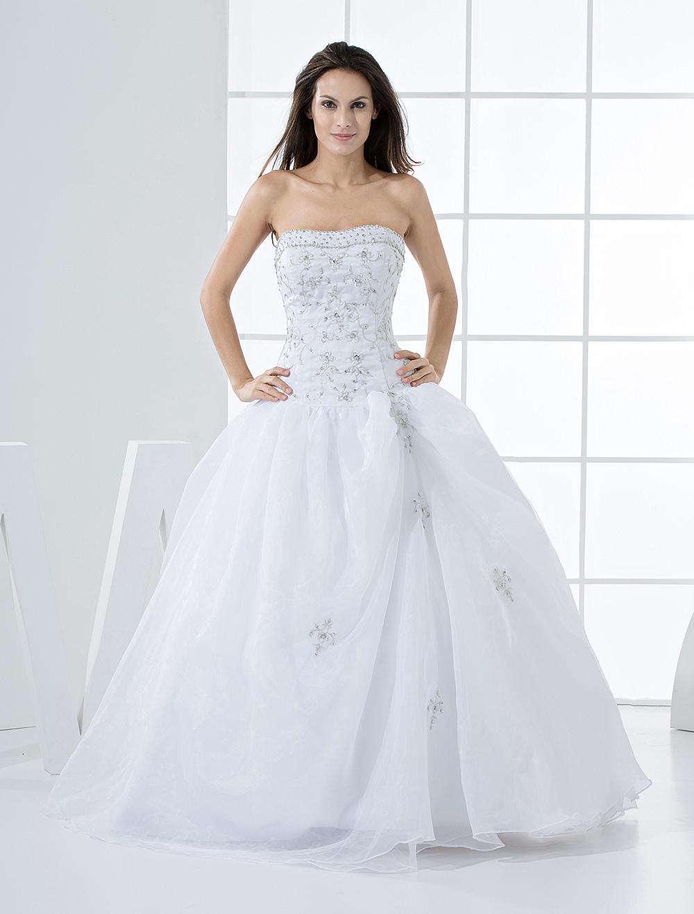 Elegant Ball Gown White Quinceanera Dress - Milanoo.com