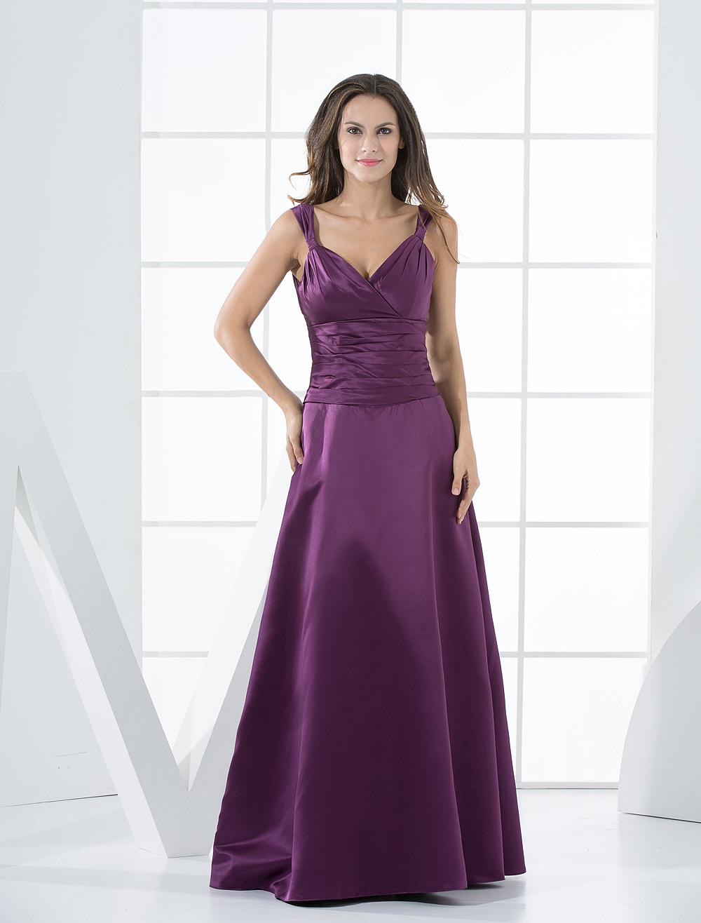 Vestido de noche de color morado de satén con escote en V de línea A ...