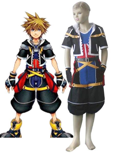 Black Red White Blue Yellow Uniform Cloth Kingdom Hearts 2 Sora Kids Cosplay Costume Halloween