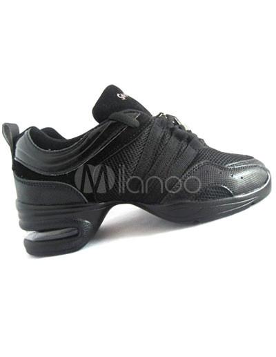 Zapatos de baile negro Lace Up PU Mesh Jazz Shoes Mujeres Zapatos CxX5BILAo