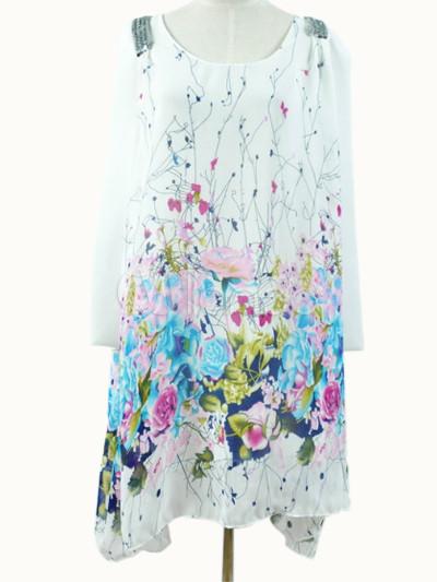8d1b55f475 ... Vestido corto de gasa sin mangas con estampado floral de estilo dulce-No.4  ...