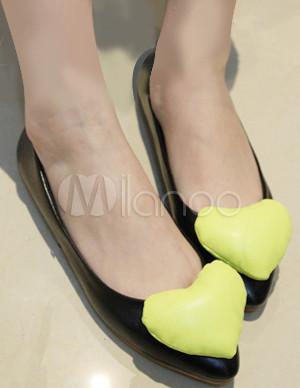 Heart decoration soft leather womens flat ballet shoes for Ballet shoes decoration
