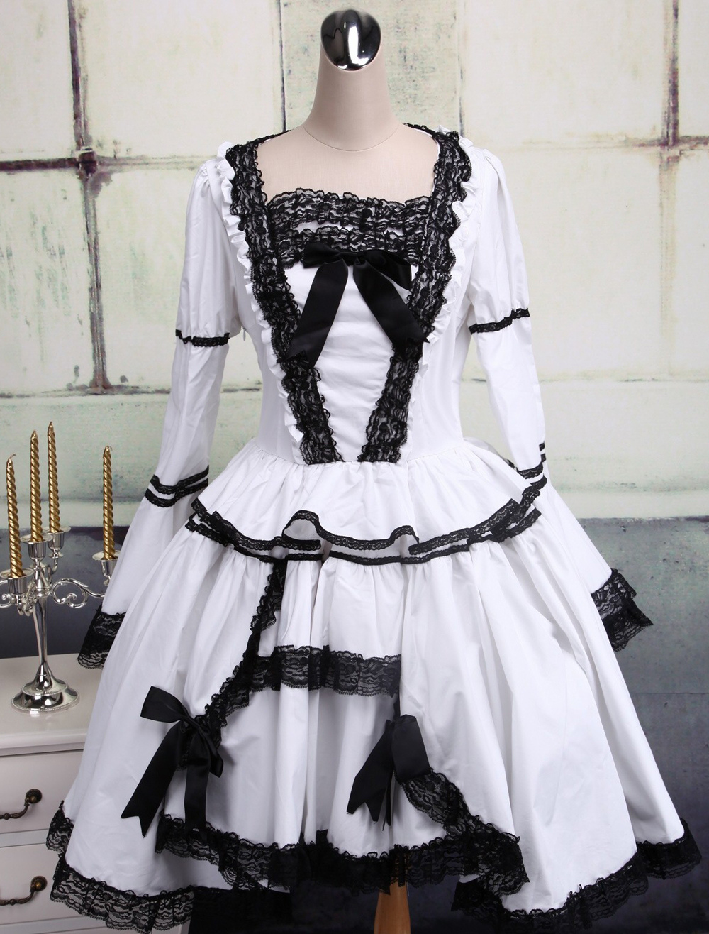 Buy Gothic Lolita Dress OP White Long Sleeves Black Lace Trim Two Layer Lolita One Piece Dress for $94.49 in Milanoo store