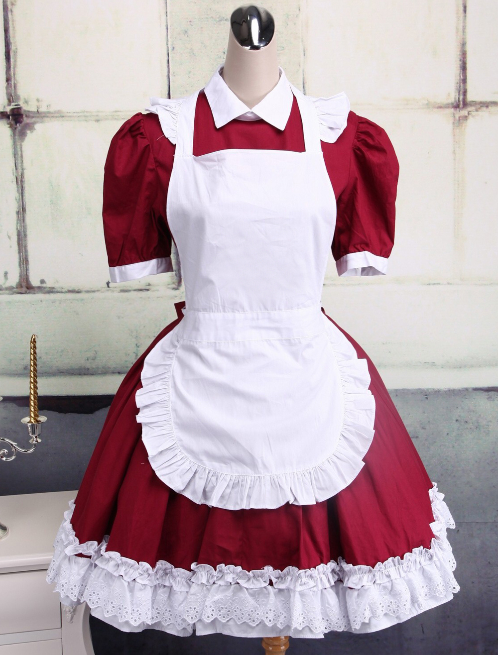 Cotton Dark Red And White Cosplay Lolita Dress With Apron