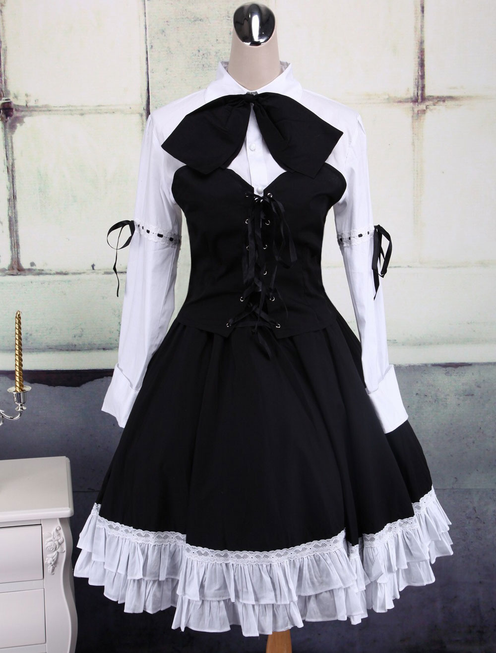 Buy Cotton White And Black Long Sleeves Punk Lolita Blouse And Skirt for $74.69 in Milanoo store