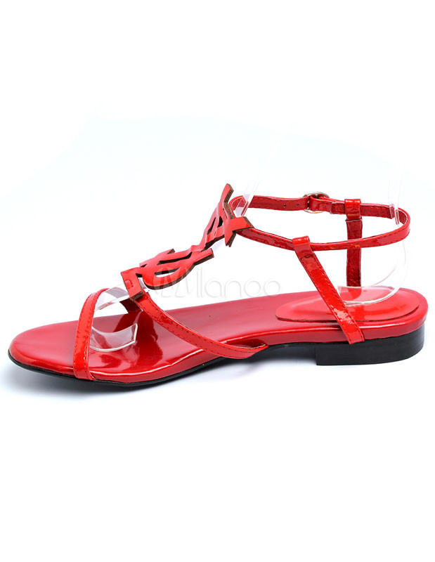 f67b5c05c1a1ce Hot Red Enamelled Leather Flat Sandals For Women - Milanoo.com
