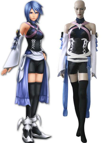 Kingdom Hearts Black And Blue Satin Spandex Leather Cosplay Costume Halloween