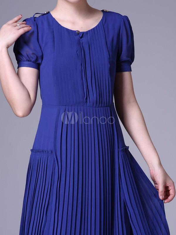 Vestido de seda Womens partido azul para la plisados joya mangas ...