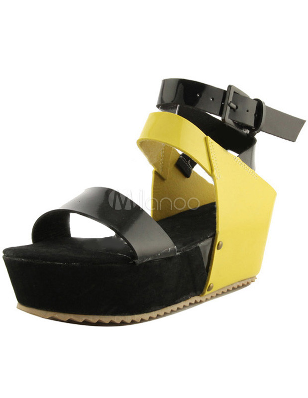 Cool Color Blocking Ankle Strap Buckle