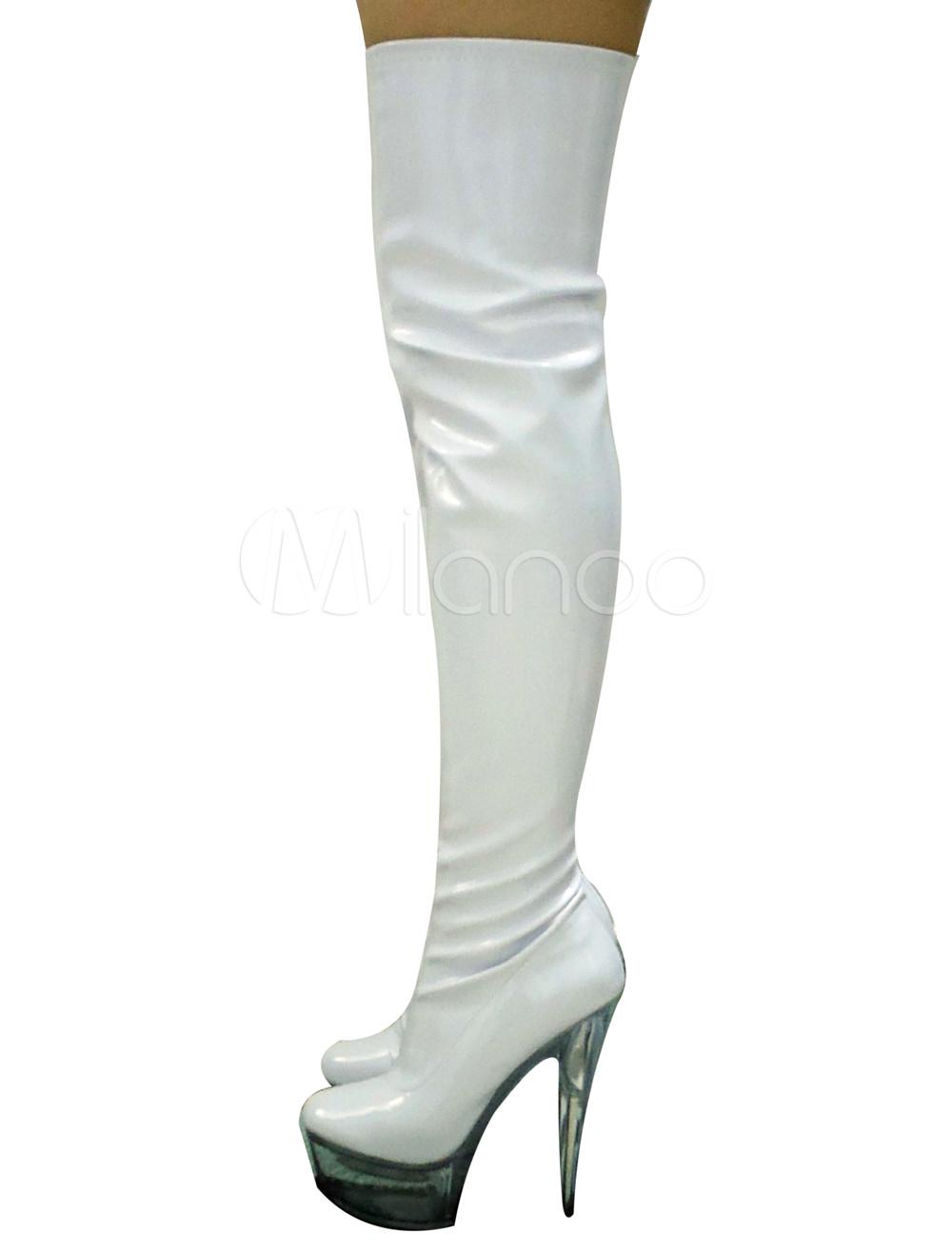 Buy Red Zip Closure Platform High Heel Patent Leather Womens Thigh High Sexy Boots for $86.44 in Milanoo store