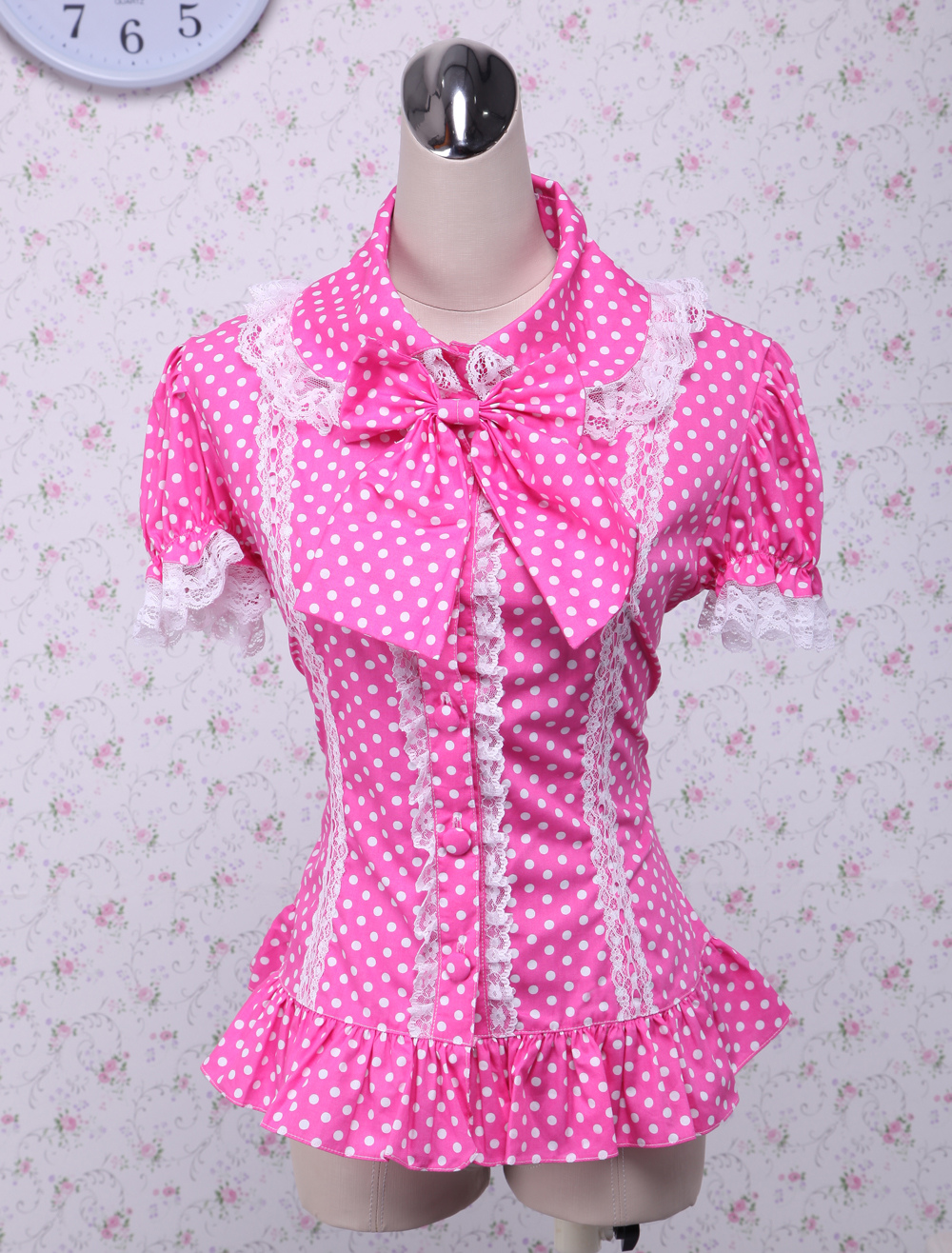 Pink Lolita Blouse White Dots Short Sleeves Lace Trim Bow