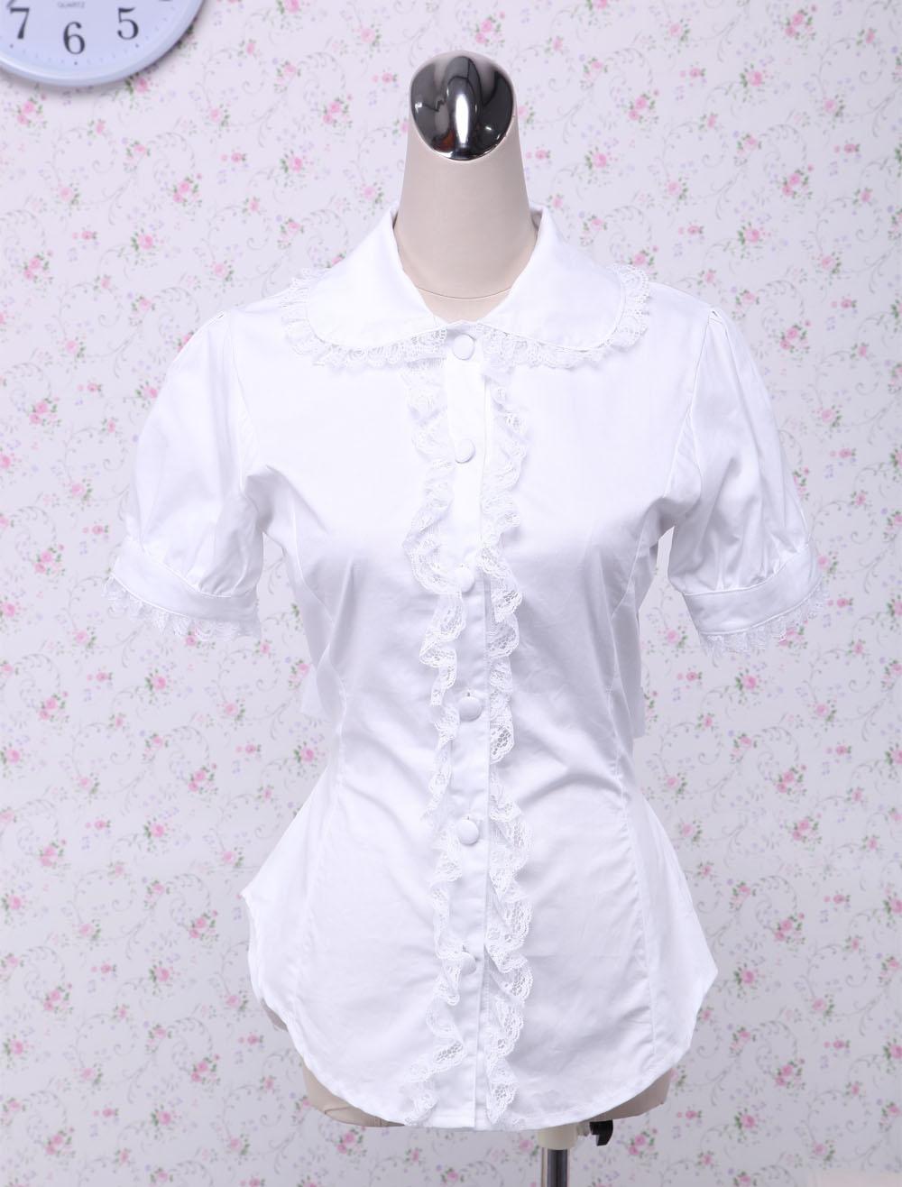 Cotton White Lace Bow Lolita Blouse