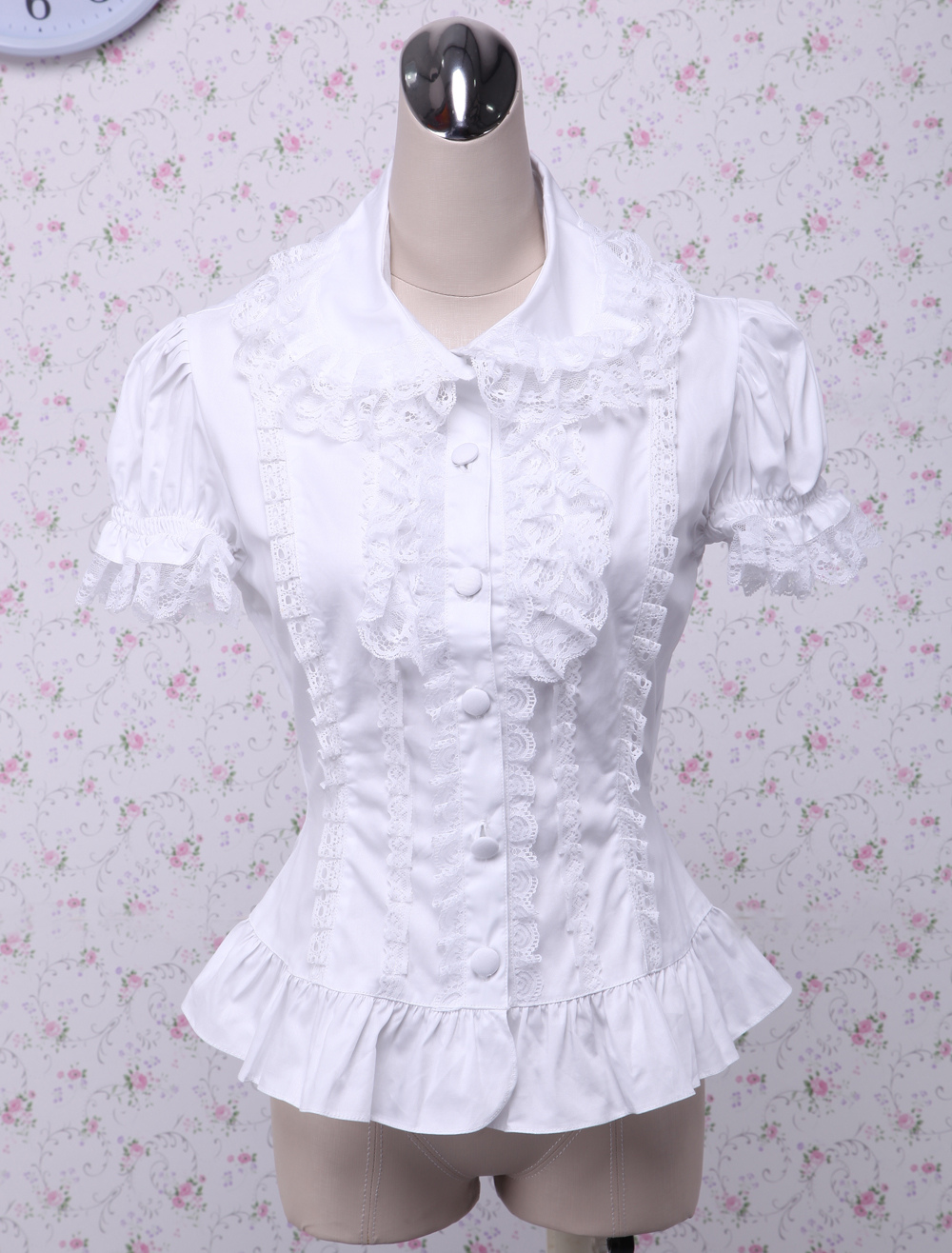Sweet White Cotton Lolita Blouse Short Sleeves Layered Lace Trim Turn-down Collar