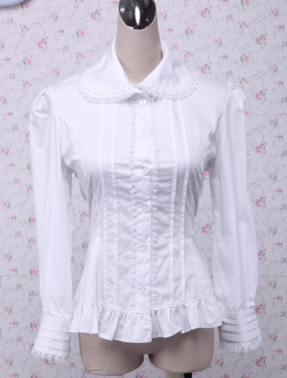 Cotton White Ruffles Long Sleeves Lolita Blouse