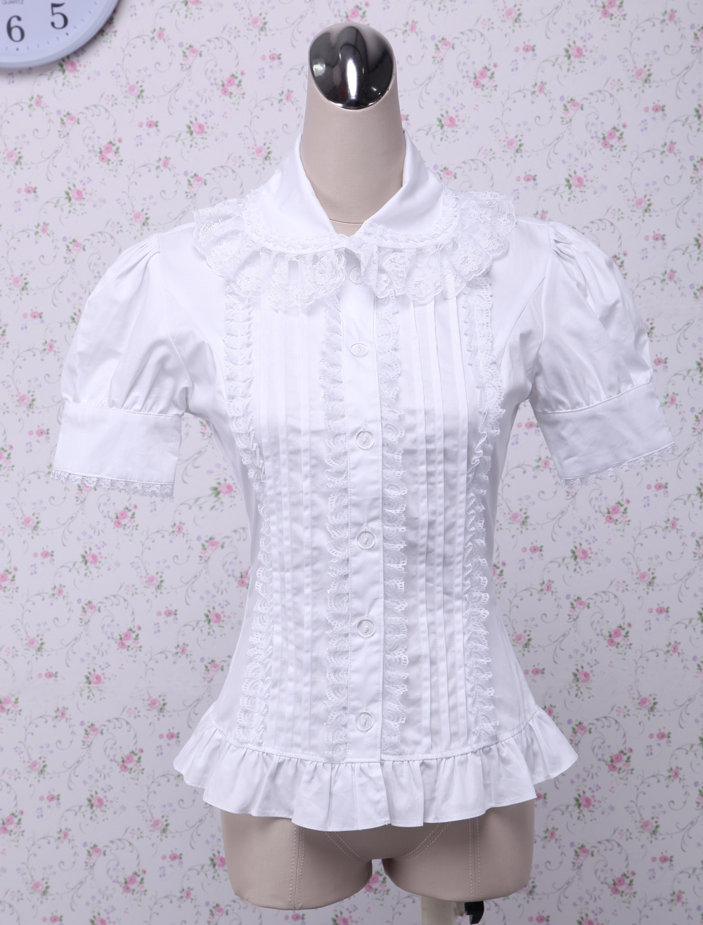 Buy White Cotton Lolita Blouse Short Sleeves Layered Lace Trim Ruffles for $46.99 in Milanoo store