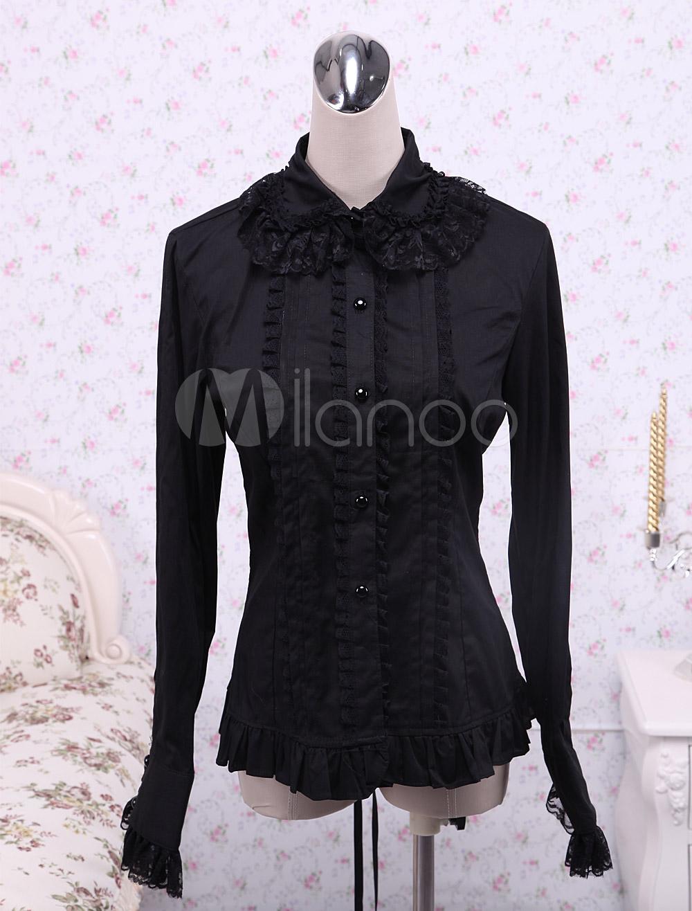 Black Cotton Lolita Blouse Long Sleeves Lace Trim Ruffles