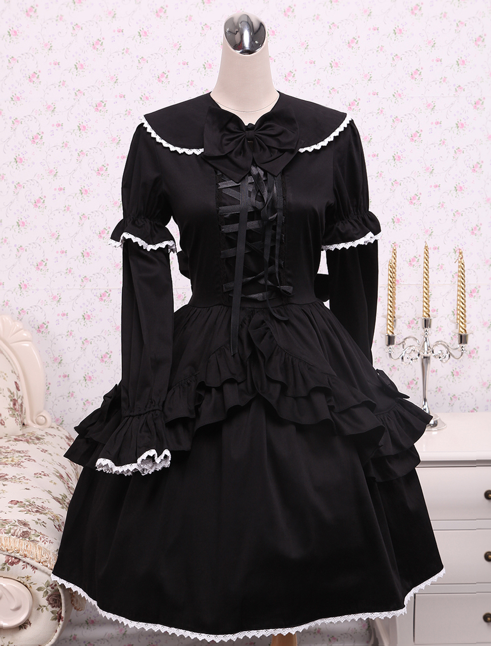 Cotton Black Loltia OP Dress Long Sleeves Lace Up Layered Ruffles Bow