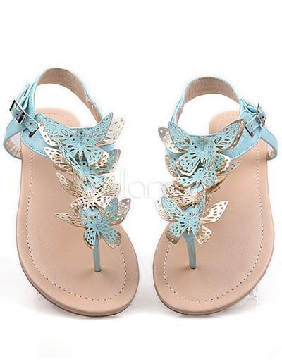 Sweet Butterfly Thong Toe Flat Pu Womens Beach Sandals