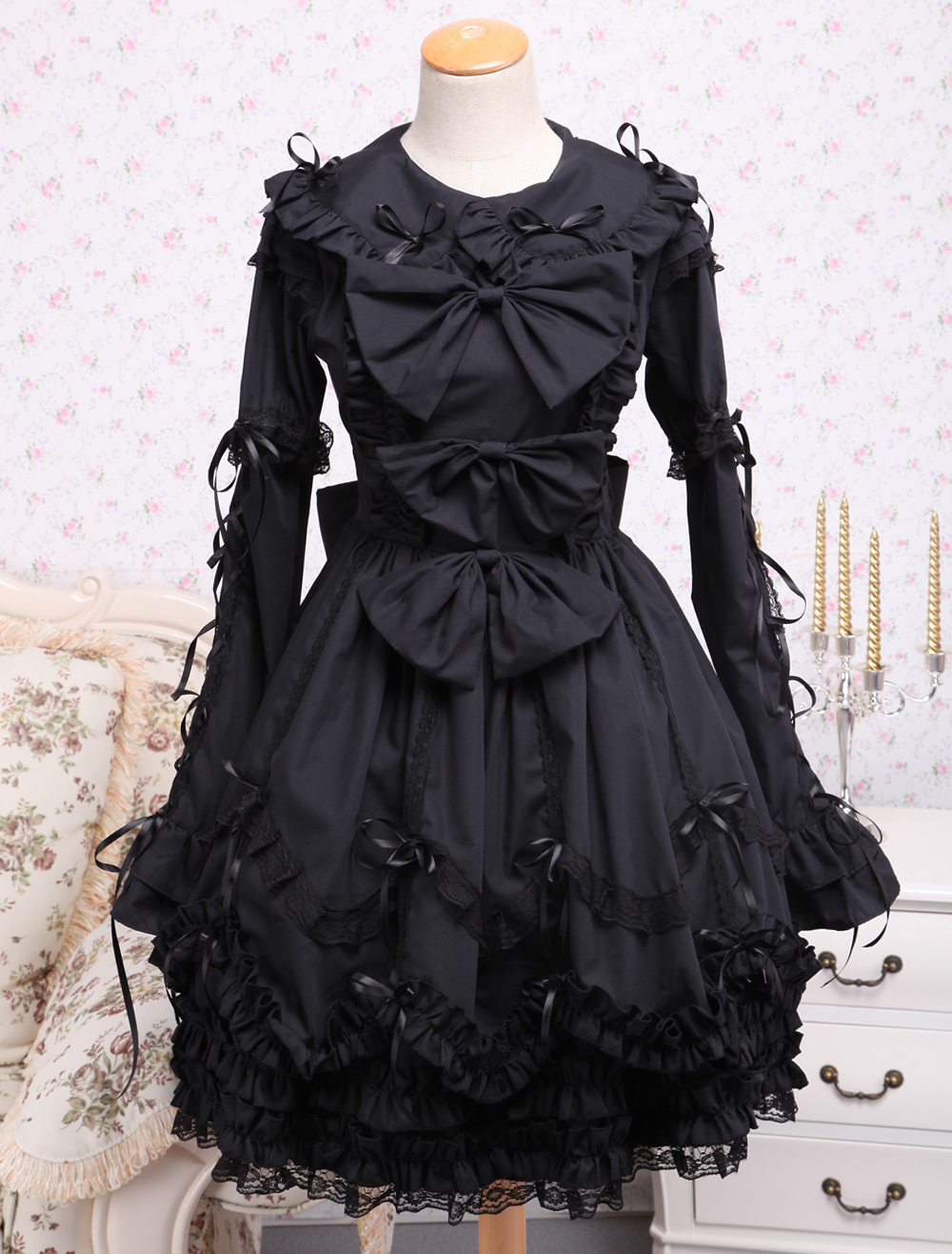 Buy Elegant Gothic Black Cotton Lolita OP Dress Long Sleeves Lace Trim Bows Ruffles for $81.89 in Milanoo store